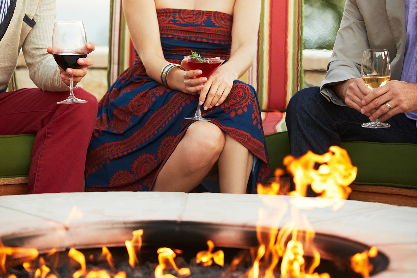 Drinking Wine Around Fire Pit with Friends  | Dovis Bird Agency Photography