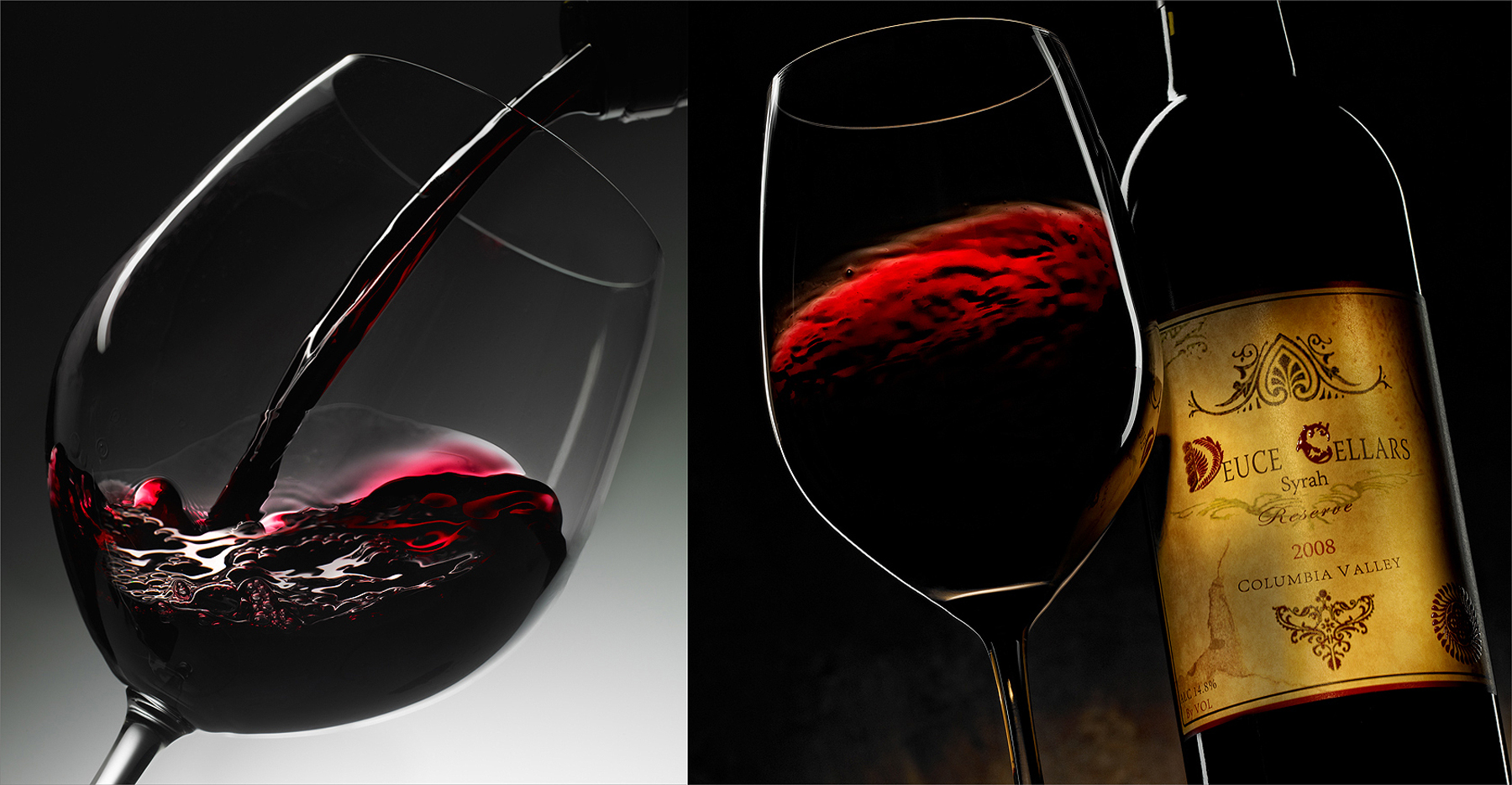 Red wine bottle pouring into wine glass |Dovis Bird Agency Reps