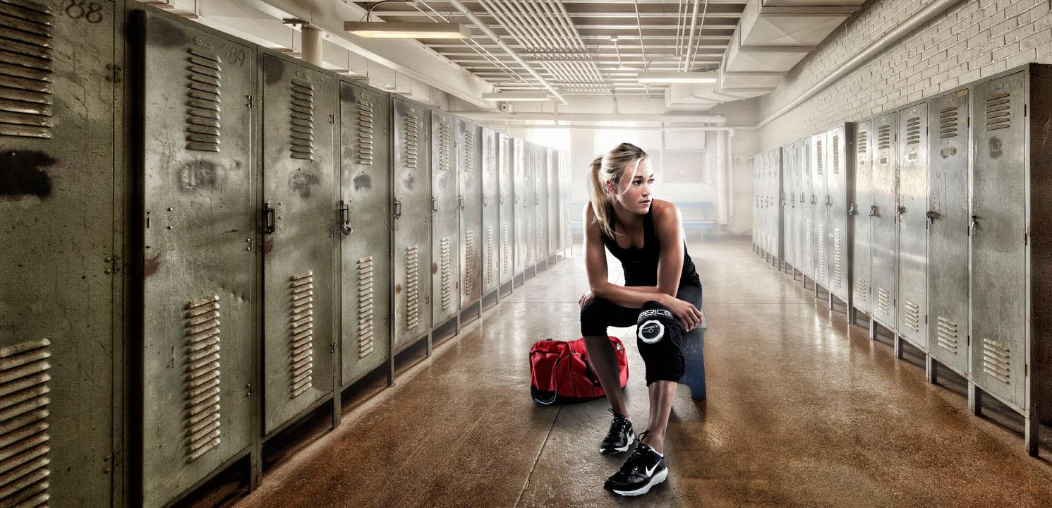 Female Athlete in locker room | Dovis Bird Agency