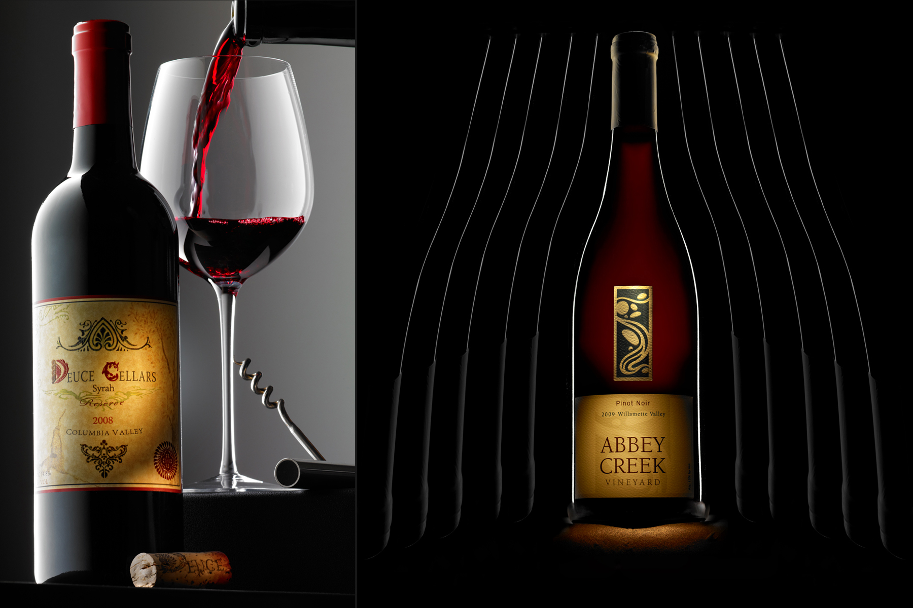 Red wine glass and bottle | Dovis Bird Agency Photography