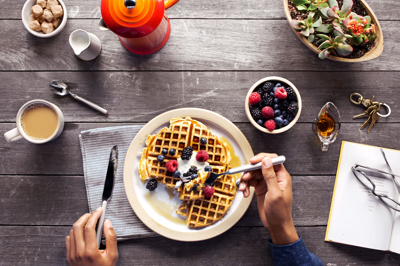 Waffle Breakfast with Fruit  | Dovis Bird Agency Photography