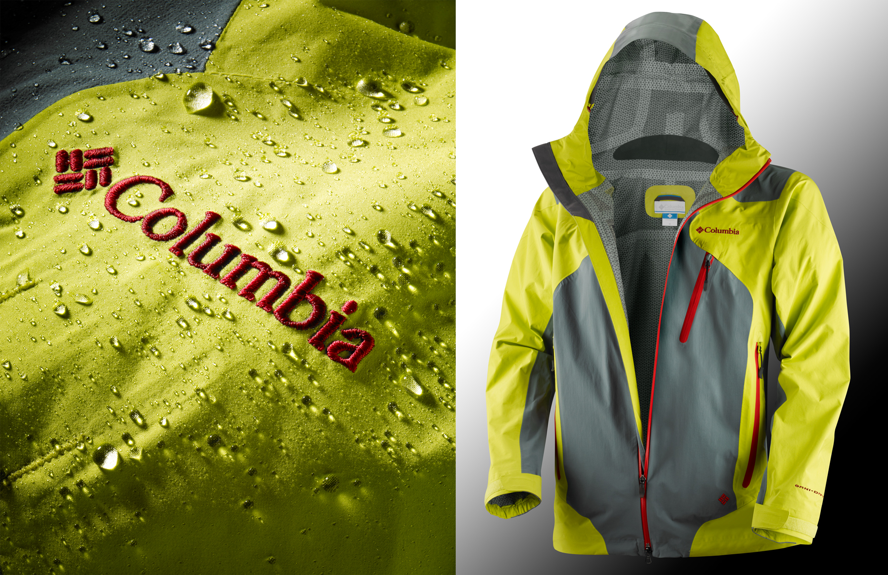 Columbia jacket with rain drops | Dovis Bird Agency Reps