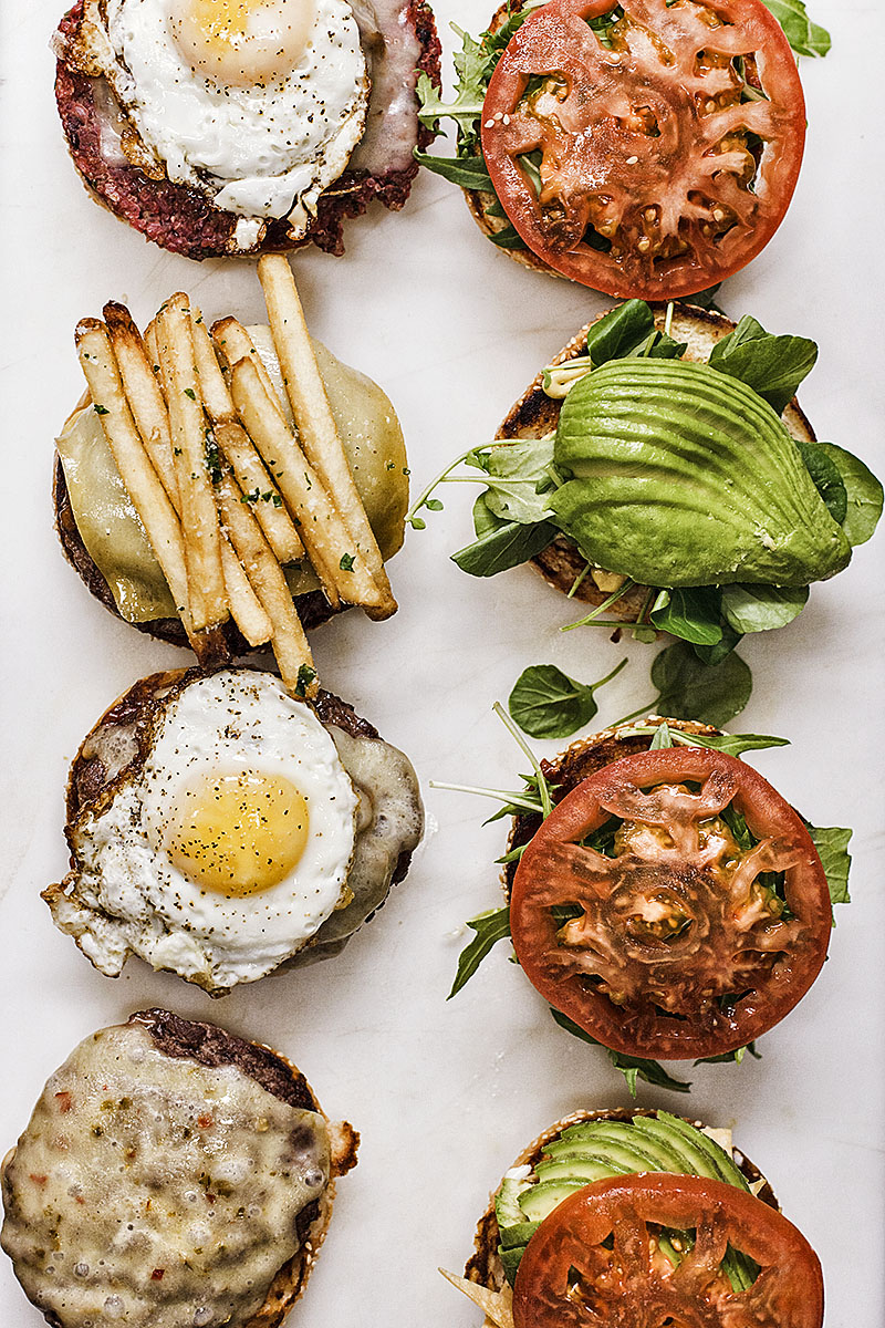 Assortment of Cheeseburgers on Plate | Dovis Bird Agency Photography