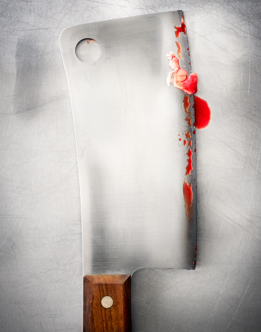 Still life of meat cleaver with blood  | Dovis Bird Agency
