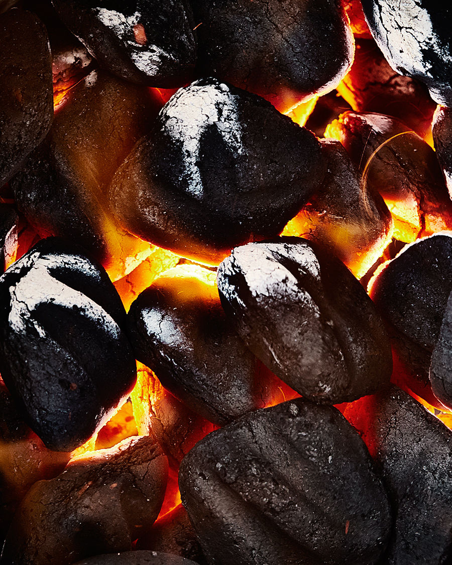 Hot coals with charcoal briquettes  | Dovis Bird Agencywith