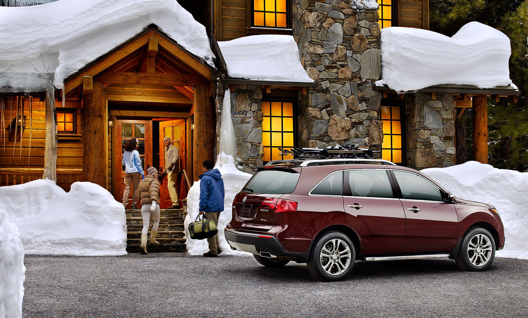 Acura SUV at ski lodge in winter Automotive Photography| Dovis Bird Agency Reps