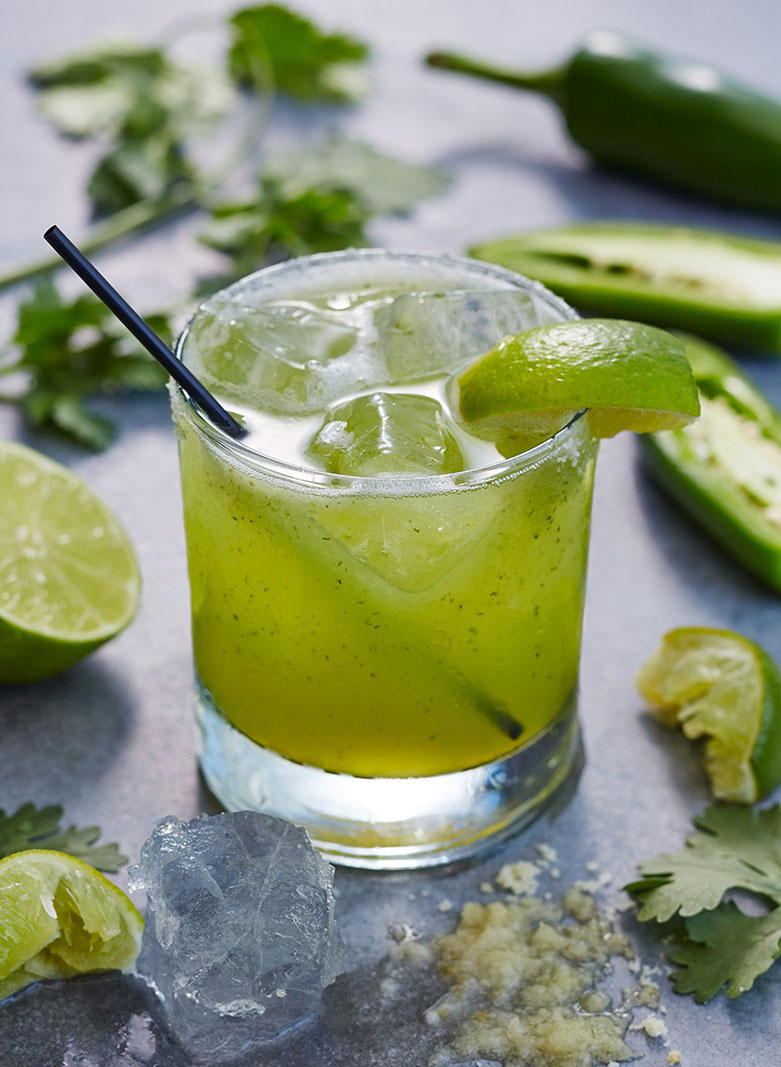 Gourmet cocktail margarita with lime, jalapeno, salt and cilantro |  Dovis Bird Agency
