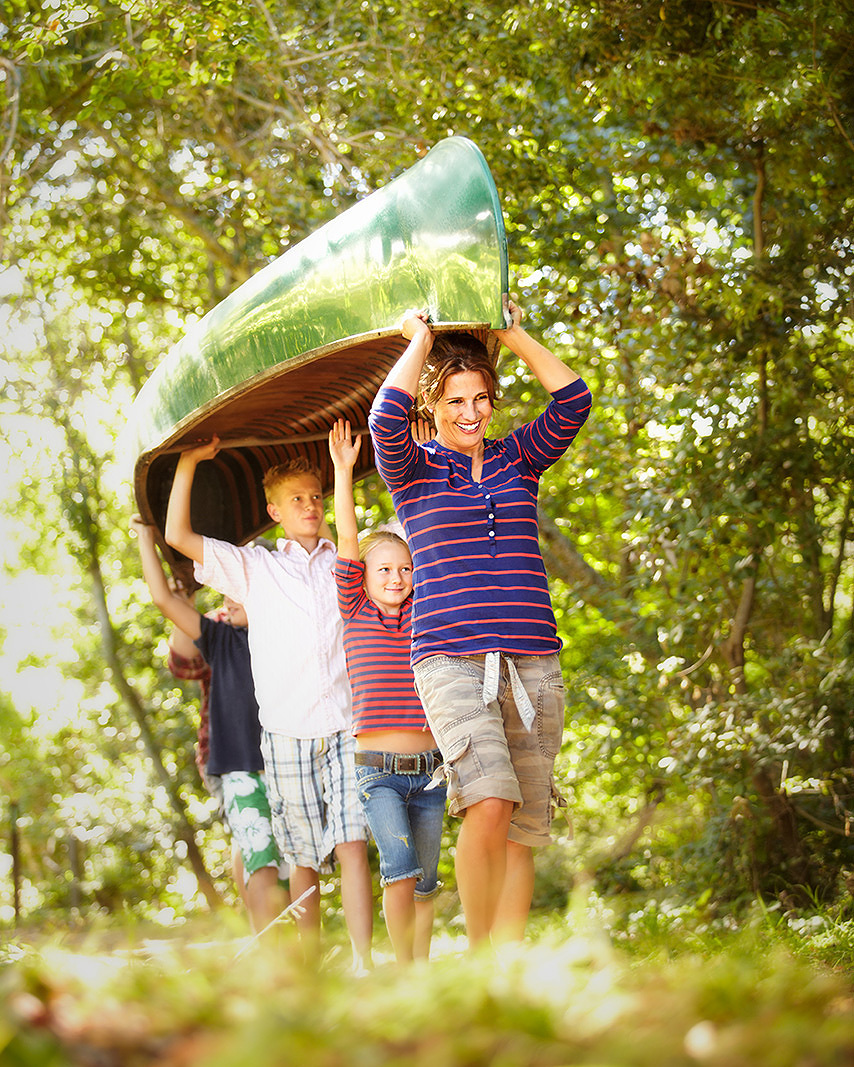 Family camping with canoe  | Dovis Bird Agency Photography